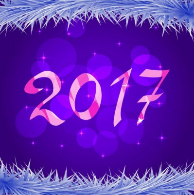 2017 for New year and Christmas with fir-tree branches with the snow.Vector a banner with a snowflake bokeh.Design element for leaflets, banners for the websites, greeting cards.