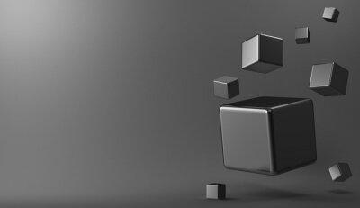 Canvas print 3d background metal cubes