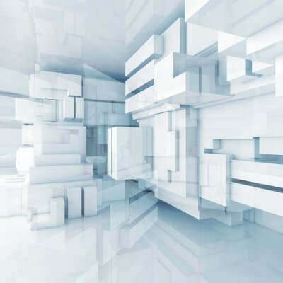 Canvas print 3d blue high-tech background with chaotic cubes