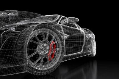 Canvas print 3D car mesh on a black