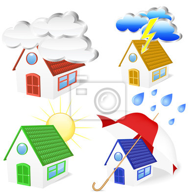 3D Houses with weather symbols set