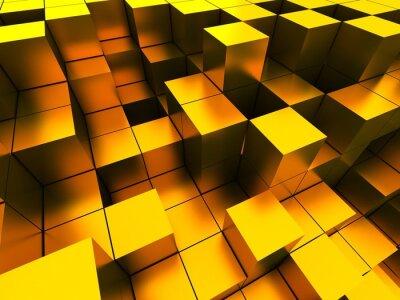 Canvas print 3d illustration of golden cubes