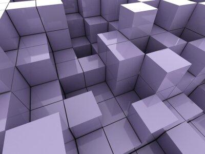 Canvas print 3d illustration of violet cubes