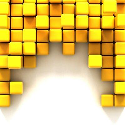 Canvas print 3d illustration of yellow cubes