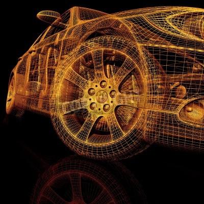 Canvas print 3d model cars