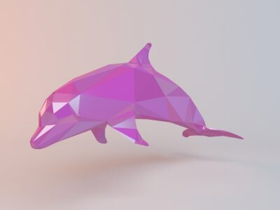 Canvas print 3D pink low poly (dolphin) inside a white stage with high render quality to be used as a logo, medal, symbol, shape, emblem, icon, children story, or any other use.