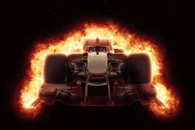 Canvas print 3D race car with fiery explosion effect