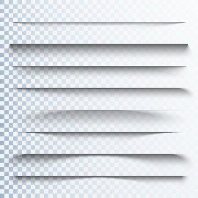 Canvas print 3d transparent shadows effect. Page dividers with transparent shadows. Pages separation set. Transparent shadow realistic illustration