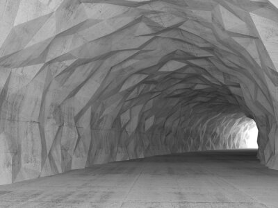 Canvas print 3d tunnel interior with chaotic polygonal relief