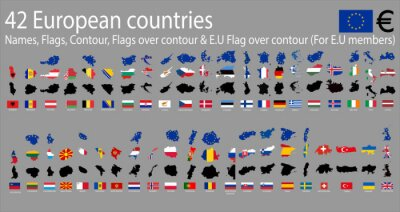 Canvas print 42 European countries