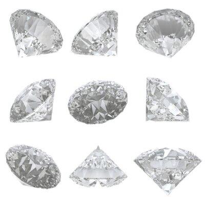 Canvas print 9 diamonds set on white background - clipping path