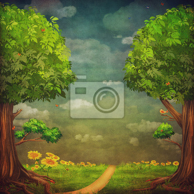 Canvas print A beautiful woodland scene with trees and sky