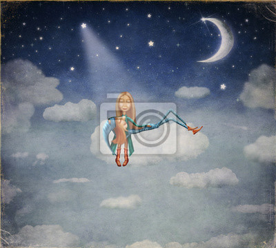 Canvas print A boy and a girl sitting in the moonlight on cloud