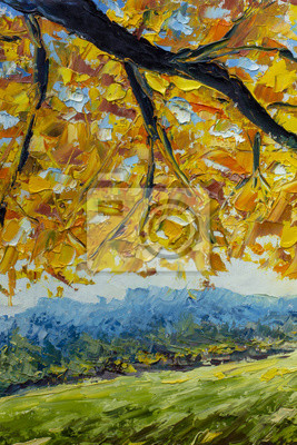 A branch of an autumn tree with golden orange foliage over a green field - autumn landscape - oil painting and palette knife impasto close-up impressionism illustration.