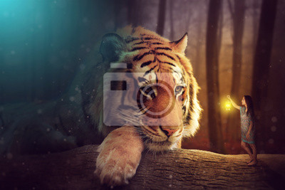 Canvas print A fantasy world - a woman and a giant tiger