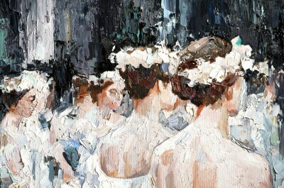 Canvas print  A group of beautiful graceful ballerinas in white dresses and with flowers in hair, in the theater are preparing for the performance. Oil painting on canvas.