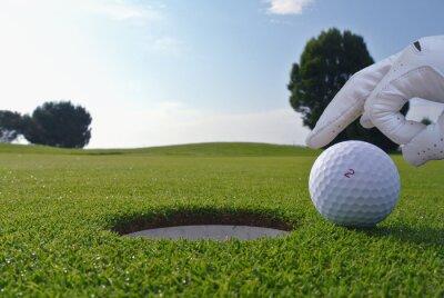 Canvas print a man who push a ball in a golf hole