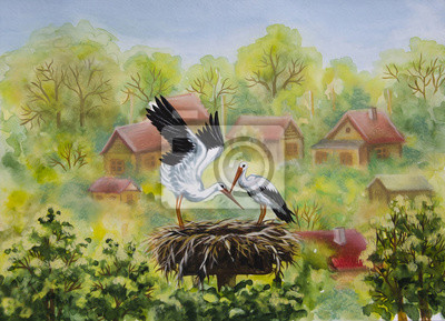 A pair of storks stands in the nest on the background of the village, wooden houses, a lot of trees, summer, oil painting
