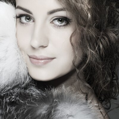 Canvas print A photo of sexual beautiful girl is in fur clothes