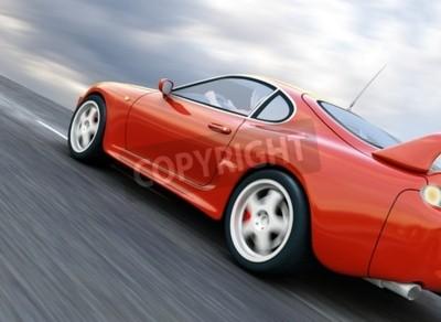Canvas print A Red Sports Car Speeding on Blurry Asphalt Road. 3D Render