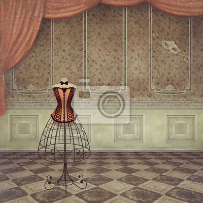 Canvas print A romantic vintage dummy in room