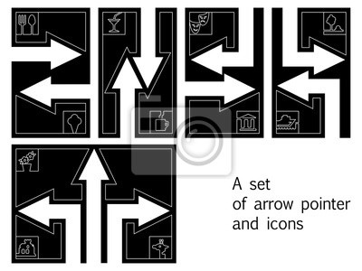 A set of arrow pointer and icons: cafe, restaurant, ice cream, z
