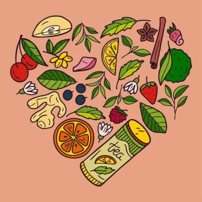 A set of elements of herbal and fruit tea: strawberry, raspberry, lemon, blueberry, bergamot, orange, cinnamon, tea leaves. Hand drawn heart shape illustration.