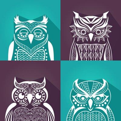 Canvas print a set of plane graphic portraits of owls. vector illustration