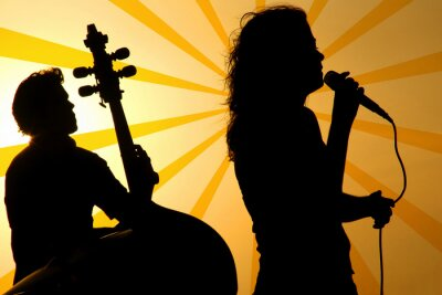 Canvas print a singer and a stand up base silhouette