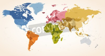 Canvas print A Vintage colors High Detail vector Map illustration of the whole world map.