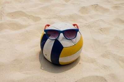 Canvas print a Volleyball at the Summer Beach with a Sunglass