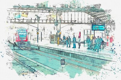 Canvas print A watercolor sketch or an illustration. Germany. Berlin. The central station is called Berlin Hauptbahnhof. People are waiting for the train on the platform.