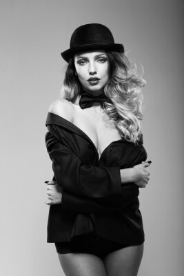 Canvas print A woman in a man's jacket. Black and white.