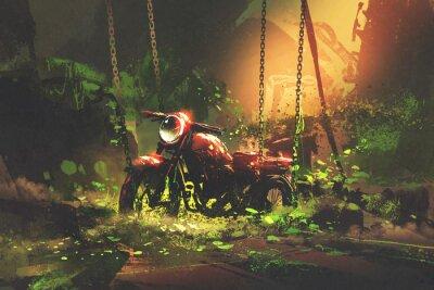 Canvas print abandoned rusty motorbike in overgrown vegetation, digital art style, illustration painting