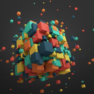 Canvas print Abstract 3D Rendering of Flying Cubes.