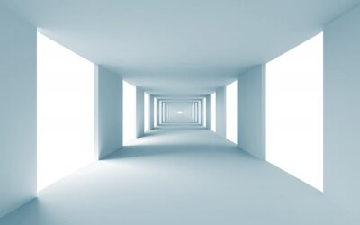Canvas print Abstract architecture 3d background, empty blue corridor