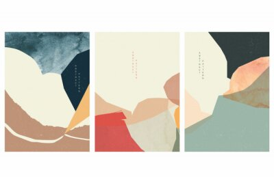 Abstract art background with watercolor texture vector. Art landscape in Japanese style.