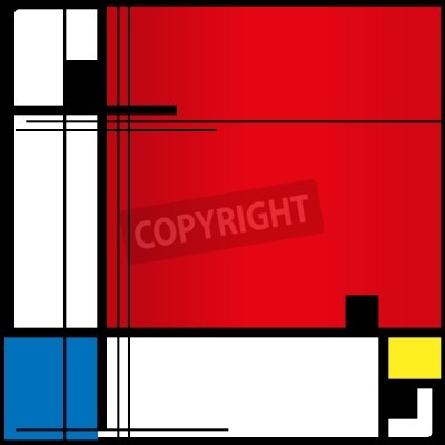 Canvas print Abstract background in style of a cubism, red, blue, yellow squares