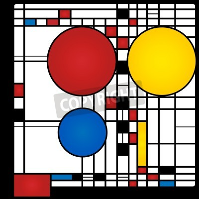 Canvas print Abstract background in style of a cubism, red, blue, yellow squares and rounds