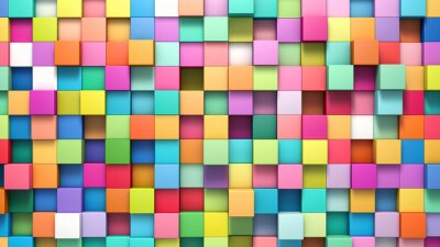 Canvas print Abstract background of multi-colored cubes