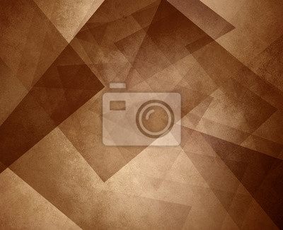 Canvas print abstract brown sepia background, elegant triangle pattern design element on light brown or tan background with vintage texture