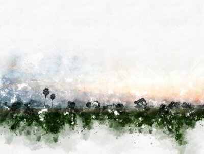Canvas print Abstract colorful field landscape on watercolor illustration painting background.