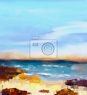 Abstract colorful oil painting seascape on canvas. Semi- abstract image of sea and beach with waves, rocks and blue sky. Summer season nature background