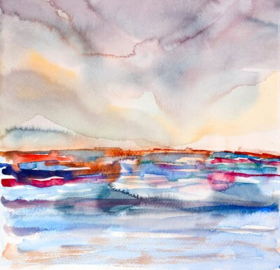 Canvas print abstract colorful seascape watercolor painted