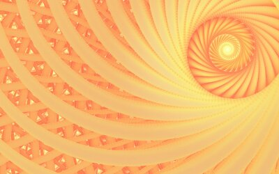 Canvas print Abstract fantasy swirl tunnel with tender peach lines