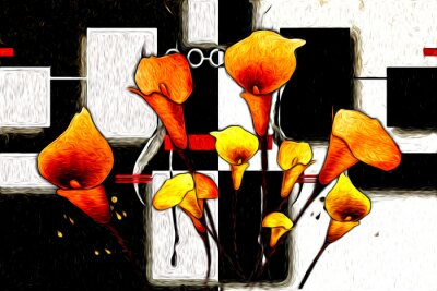 Canvas print Abstract flower oil painting