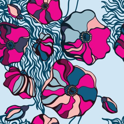 Canvas print Abstract Flowers background. Seamless pattern
