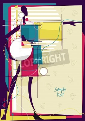 Canvas print Abstract girl in bright fashion background. Place for your text. Vector illustration.