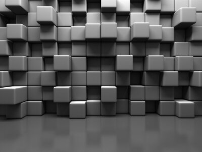 Canvas print Abstract Gray Cube Blocks Wall Background