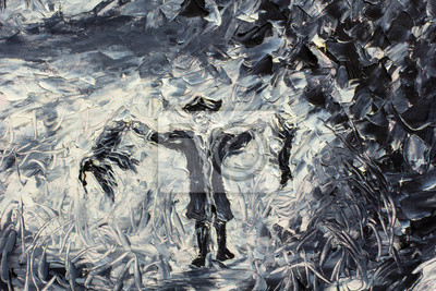 Abstract Hunter with Prey - Black and White Oil Painting with a Palette Knife - Large Strokes Impressionism fine art